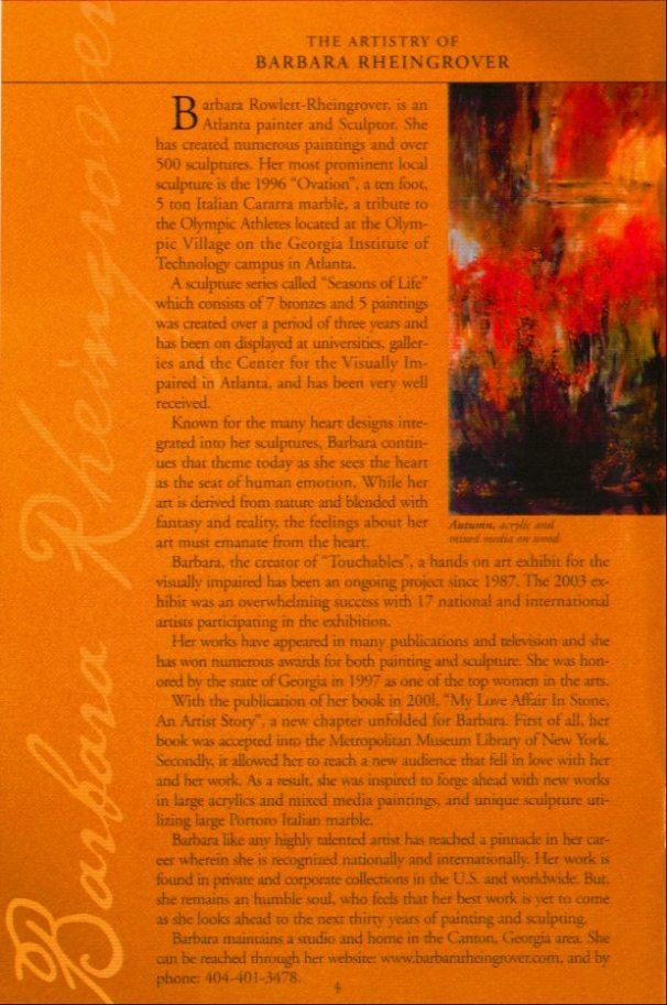 ShowGuide Fall 2004 - The Artistry of Barbara Rheingrover